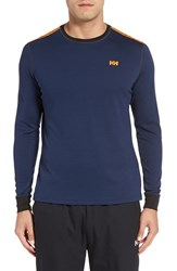 Helly Hansen Men's 'Active Flow' Base Layer Long Sleeve T Shirt Evening Blue Neon Orange