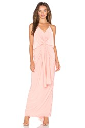 Misa Los Angeles Domino Tie Front Maxi Dress Coral