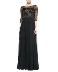 Kay Unger New York 3 4 Sleeve Gown W Sequined Bodice Black Gold