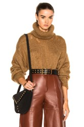 Saint Laurent Oversize Mohair Turtleneck Sweater In Brown