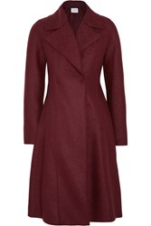 Harris Wharf London Flared Double Breasted Wool Felt Coat Burgundy