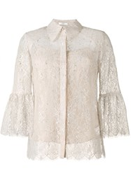 Erdem Metallic Floral Lace Shirt Nude And Neutrals