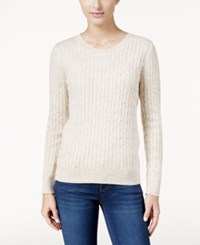 Karen Scott Cable Knit Crew Neck Sweater Only At Macy's Oatmeal Heather