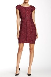 Laundry By Shelli Segal Faux Leather Seam Detail Dress Petite Red