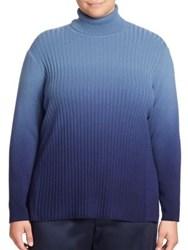 Lafayette 148 New York Cashmere Ombre Rib Knit Turtleneck Sweater Fresco Blue