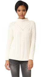 525 America Mock Neck Cable Sweater White Cap