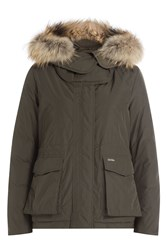 Woolrich Short Military Down Parka Jacket With Fur Trimmed Hood Green