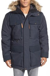Fjall Raven Men's Fj Llr Ven 'Polar Guide' Waterproof Hooded Parka With Faux Fur Trim Dark Navy