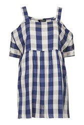 Topshop Tall Gingham Smock Dress Navy Blue