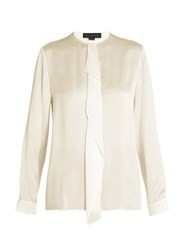 Stella Mccartney Ruffled Silk Satin Shirt Ivory