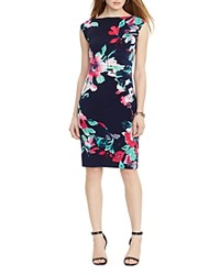 Lauren Ralph Lauren Floral Print Dress Lighthouse Navy Blue Multi