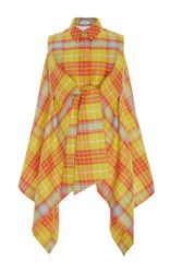 Delpozo Sleeveless Checkered Jacket Yellow Orange