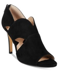 Adrienne Vittadini Gerlinda Peep Toe Sandals Women's Shoes Black Kidsuede