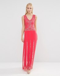 Maya Maxi Dress With Embellished Waist Detail Coral Pink