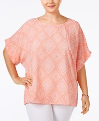 Ing Plus Size Dolman Sleeve Printed Top Coral Combo