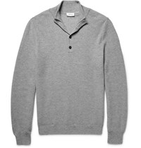 Brioni Honeycomb Knit Cashmere Sweater Gray