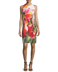 Carmen Marc Valvo Sleeveless Floral Print Sheath Dress Size 14 Black