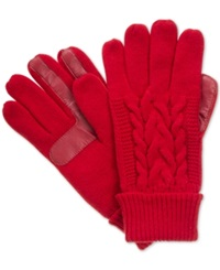 Isotoner Signature Touchscreen Enabled Solid Triple Cable Knit Palm Gloves Red