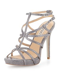 Badgley Mischka Aubrie Snake Embossed Strappy Sandal Pewter