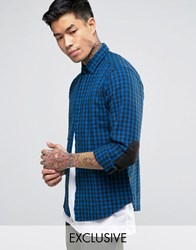 Replay Check Flannel Shirt In Blue Blue