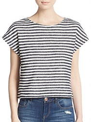 Alice Olivia Striped Dolman Top Black