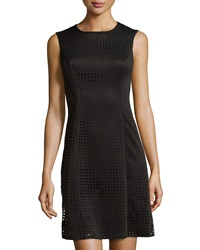 Marc New York By Andrew Marc Perforated Scuba Fit And Flare Dress Black