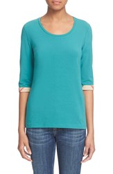 Women's Burberry Brit Check Trim Three Quarter Sleeve Top Aqua Green