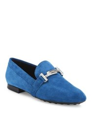 Tod's Gomma Nubuck Leather Loafers Blue Brown