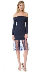 Michelle Mason Off Shoulder Dress With Mesh Midnight