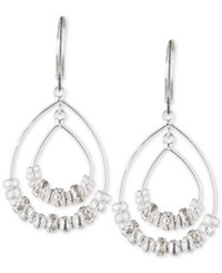 Nine West Silver Tone Beaded Teardrop Orbital Drop Earrings