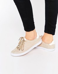 Blink Suede Lace Up Sneaker Trainers Nude Beige
