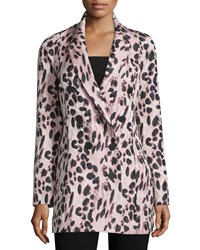 J. Mendel Double Breasted Feline Print Coat Kitten Pink Noir Women's