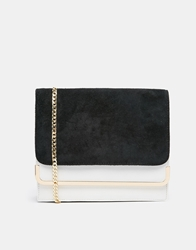 Dune Leo Colour Block Suede Gold Chain Handbag Black
