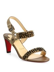 Christian Louboutin Bikee Bike Spiked Suede Sandals Brown