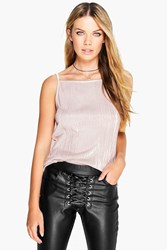 Boohoo Woven Crinkle Crop Cami Toupe