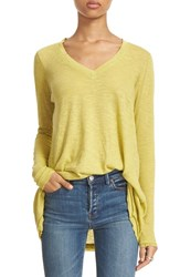 Free People Women's 'Anna' Burnout High Low Tee Green