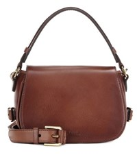 Polo Ralph Lauren Saddle Leather Cross Body Bag Brown
