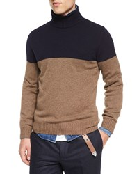 Brunello Cucinelli Colorblock Cashmere Turtleneck Knit Sweater Navy