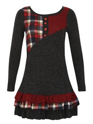 Izabel London Patchwork Knit Dress With Tiered Skirt Red