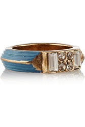 Lulu Frost Halo Gold Tone Enamel And Crystal Ring