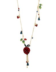 Betsey Johnson Garden Of Excess Faceted Stone Fruit Pendant Goldtone Necklace Multi