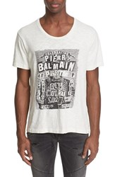 Balmain Men's Pierre 'Party' Graphic T Shirt Off White