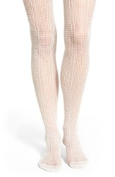 Women's Lemon 'Heather Water Net' Open Knit Tights White Sand