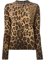 Dolce And Gabbana Leopard Intarsia Sweater Brown