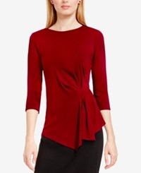 Vince Camuto Side Ruched Asymmetrical Top Malbec Red