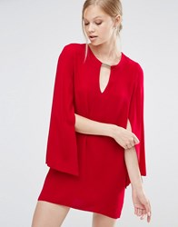 Forever Unique Asha Shift Dress With Fluted Sleeves Red