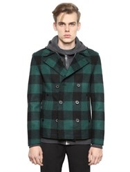 Lanvin Tartan Double Breasted Wool Peacoat