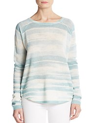Vince Striped Wool And Cashmere Top Aqua Multi