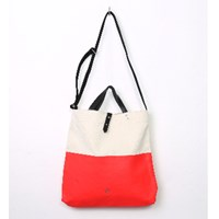Stighlorgan Kavan Canvas Leather Shoulder Tote Neon Red