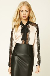 Forever 21 Satin Lace Shirt Nude Black
